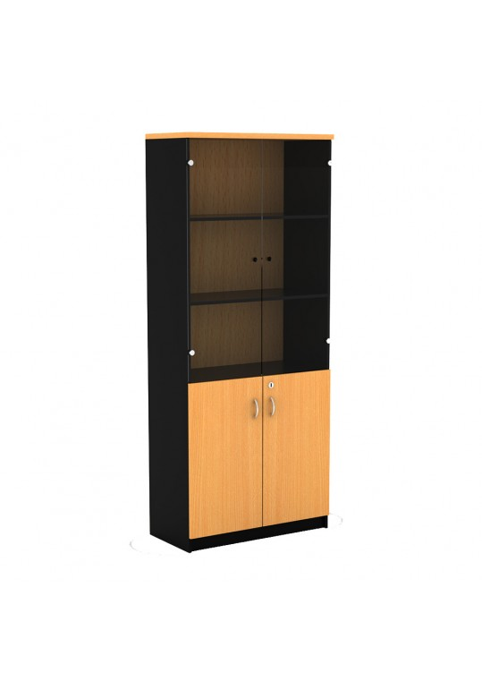 Mortred Bookcase with Door & Glass